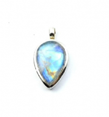 Pearshape Rainbow Moonstone Pendant Silver medium stone 'One-Off'